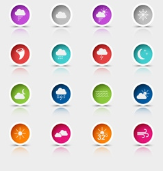 Colored set round web buttons weather vector