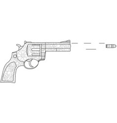 coloring for adults the revolver shoots the vector image