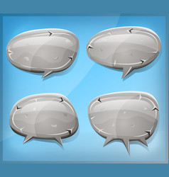 comic stone and rock speech bubbles vector image