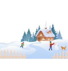 country cottage winter scene vector image