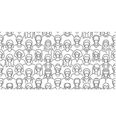 Crowd people in face masks seamless vector