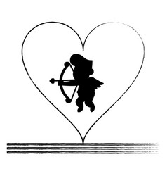 Cupid silhouette on heart sketch vector