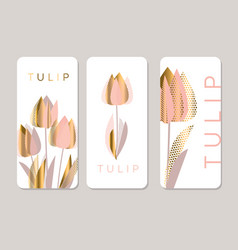 decorative rose and gold textured tulip flowers vector image