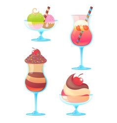 Delicious realistic ice-cream set vector image