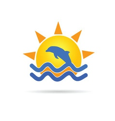 dolphin with sun icon color vector image