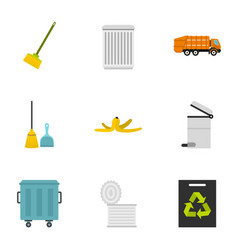 Ecology and waste icons set flat style vector