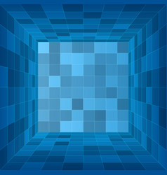 empty 3d room blue container inside view vector image