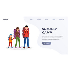 family summer camping landing page vector image