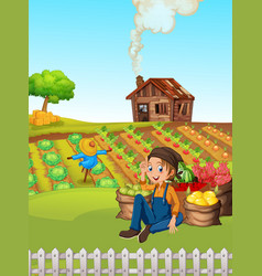Farmer at rural farmland vector