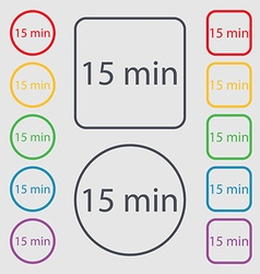 Fifteen minutes sign icon Symbols on the Round and vector