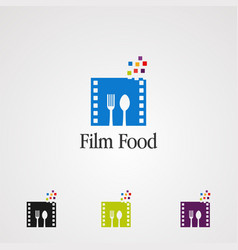 Film food with spoon and fork logo icon element vector