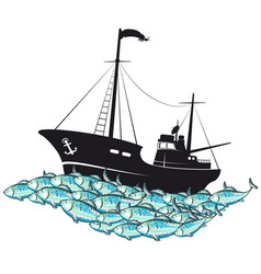 Fishing boat and school of fish vector