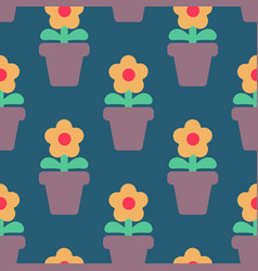flower in pot seamless pattern homemade plant red vector image