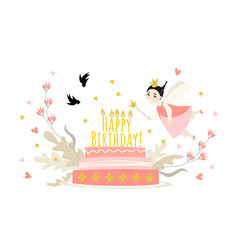 for design a greeting card for girl vector image