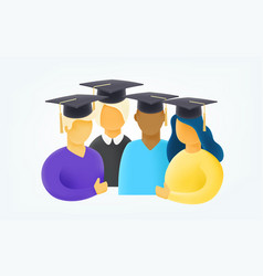 group young students with graduation cap 3d vector image