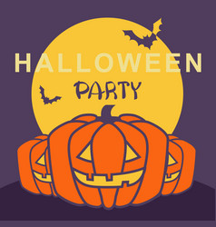 halloween party card with pumpkins and night moon vector image