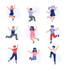 happy boys and girls happily jumping set smiling vector image