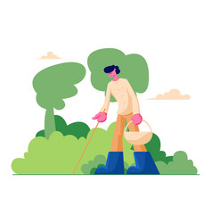 happy man character with basket and stick in hands vector image
