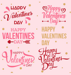 happy valentine day handwritten collection vector image