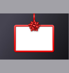 holiday gift card with red frame ribbon and bow vector image