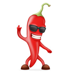 hot chili pepper sunglasses happy character vector image