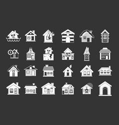 house icon set grey vector image