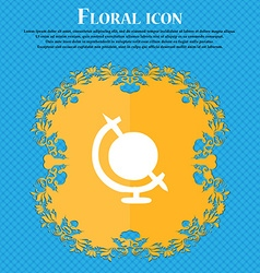 icon world sign Floral flat design on a blue vector image