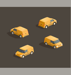 isometric yellow minivan vector image