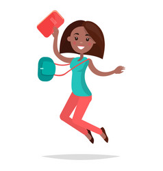 jumping african girl student with notebook and bag vector image