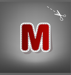 Letter m sign design template element red vector