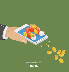 Making money online flat isometric concept vector