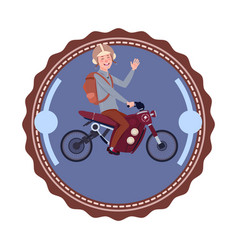 man riding modern mountain motorcycle vintage logo vector image