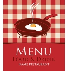 Menu with a frying pan and fried eggs vector