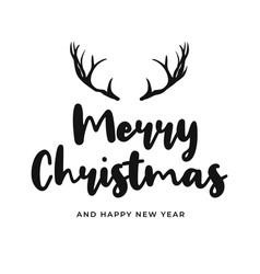 Merry christmas and happy new year handwritten vector