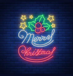 merry christmas welcome card done in neon style vector image