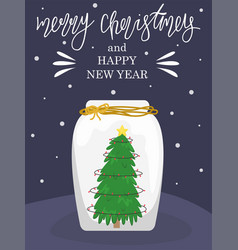 new year greeting card christmas tree with lights vector image