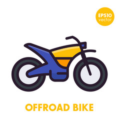 Offroad bike motorcycle icon in flat style vector