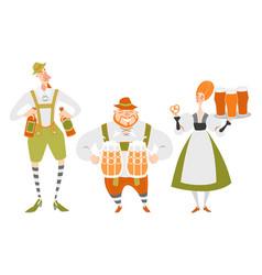 Oktoberfest set characters in bavarian costumes vector