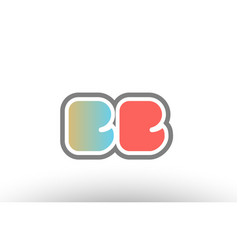 Orange pastel blue alphabet letter bb b b logo vector
