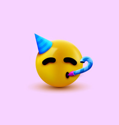 party face emoji - yellow face with a party hat vector image