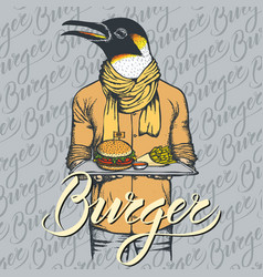 Penguin with burger and french vector