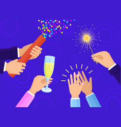 People hands with champagne glass and sparkler vector