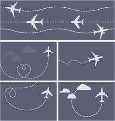 Plane flight - dotted trace airplane vector