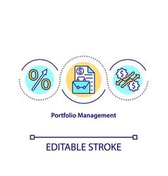 Portfolio management concept icon vector