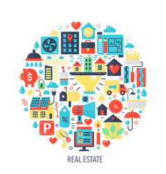 Real estate flat infographics icons in circle vector