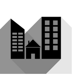 real estate sign black icon with two flat vector image vector image