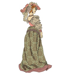 Retro woman from nineteenth century vector image