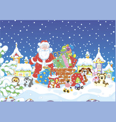 santa with gifts on a snow-covered roof vector image