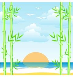 Sea and bamboo grove vector