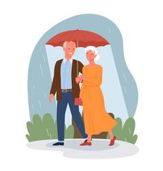 Senior people on date happy elderly man woman vector